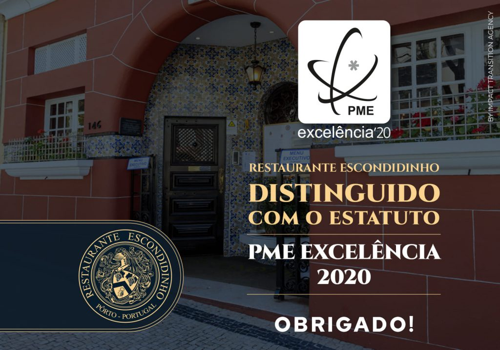 Escondidinho PME Excelência 2020 restaurante escondidinho porto pratos tipicos portugueses luxo requintado elites impact transition
